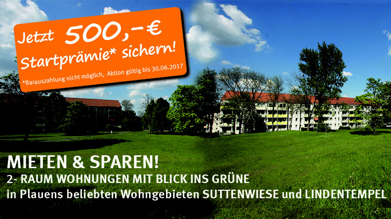 2-Raumwohnung mieten + 500 Euro Startprämie