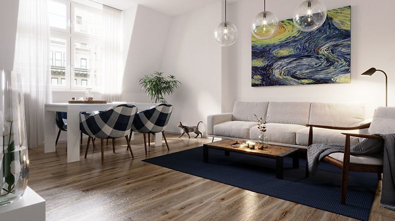 Wohnzimmer 4-Raumwohnung im sanierten Altbau